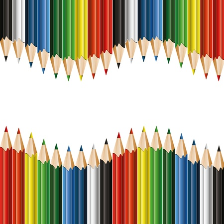 Colorful pencils -  background with copyspace Vector