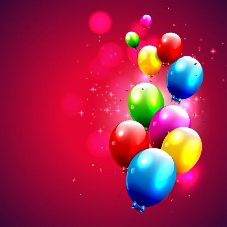 Birthday balloons on red background