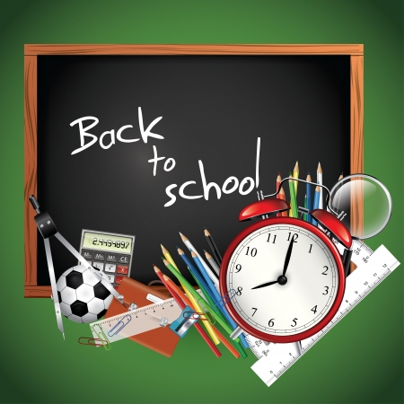 blackboard background: Back to school - blackboard with school supplies Illustration