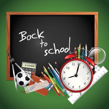 fournitures scolaires: Retour � l'�cole - tableau noir avec des fournitures scolaires