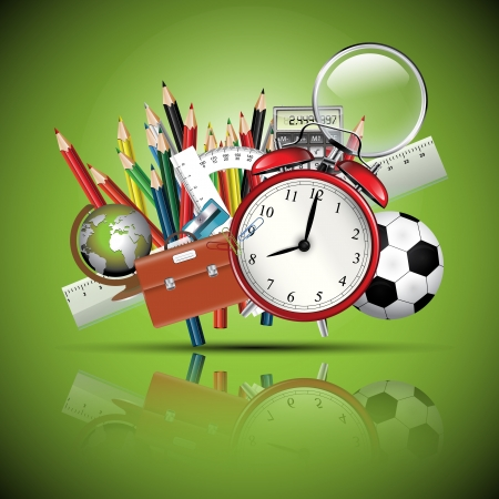 utiles escolares: Material escolar - fondo verde brillante Vectores