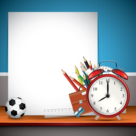 School supplies and blank paper on the shelf Vector
