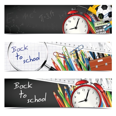 school border: Back to school - set of vertical banners
