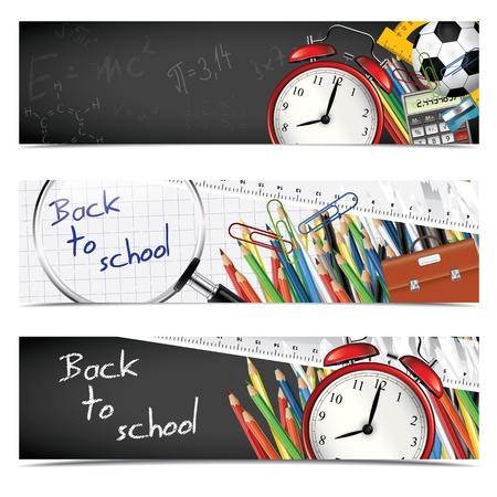 ni�os con pancarta: Volver a la escuela - conjunto de banners verticales Vectores