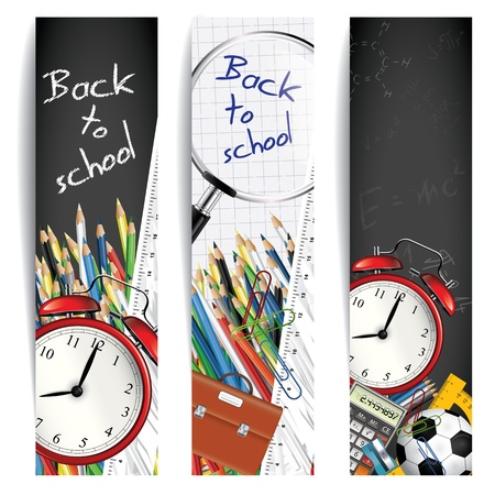 child education: Back to school - set of vertical banners