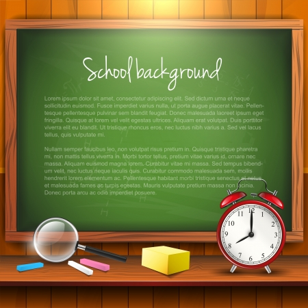 supplies: School supplies and empty blackboard with copyspace