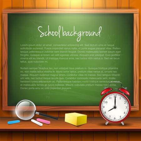 onderwijs: Schoolbenodigdheden en leeg bord met copyspace