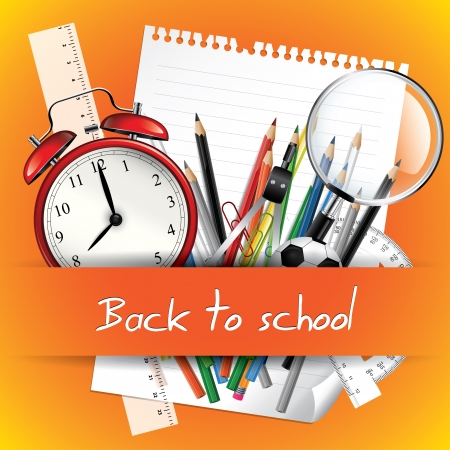 school border: School supplies - Back to school background