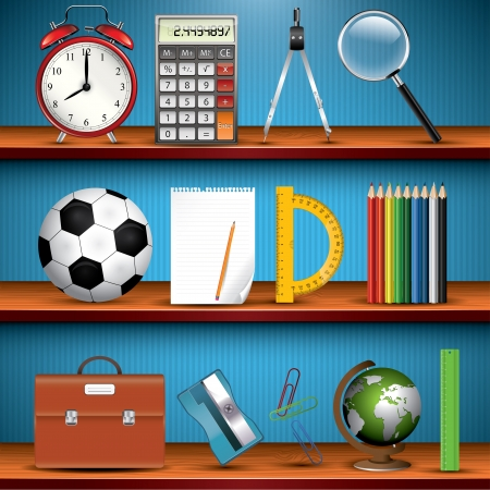 School supplies on the shelves Vector