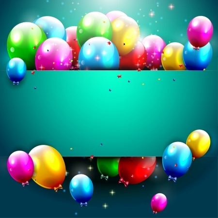 play card: Luxury birthday background with colorful balloons and copyspace