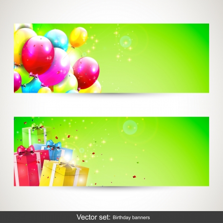 Vector set of two birthday banners with colorful balloons anf gifts   Vector