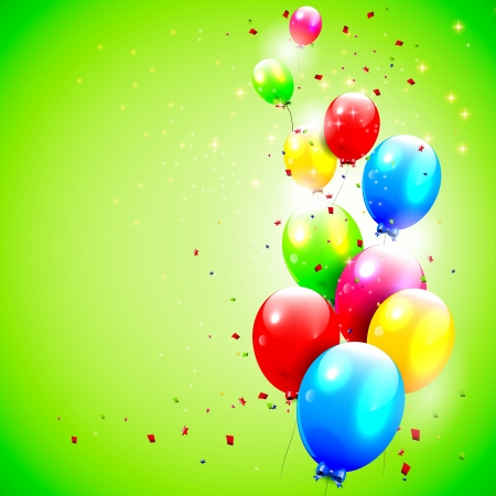 Birthday background with flying balloons   Vector