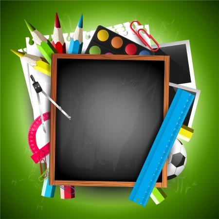 School blackboard with school supplies and copyspace Vector