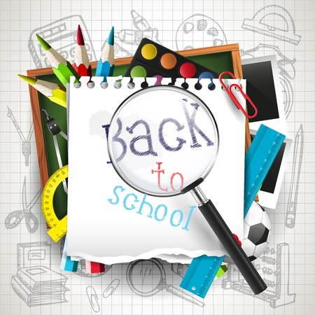 school frame: Back to school - creative vector background with school supplies