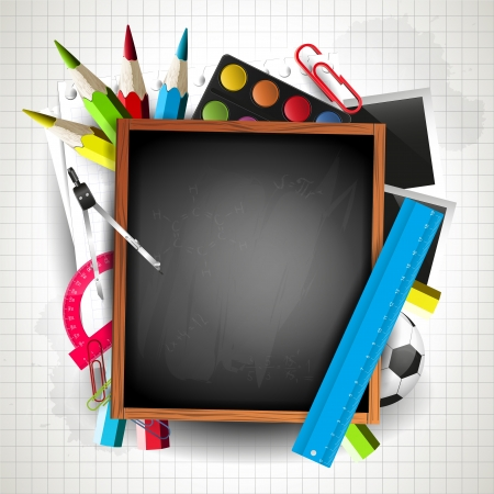copyspace: School blackboard with school supplies and copyspace Illustration