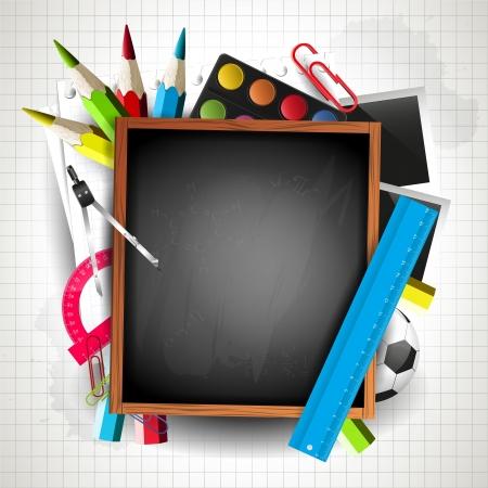 supplies: School blackboard with school supplies and copyspace Illustration