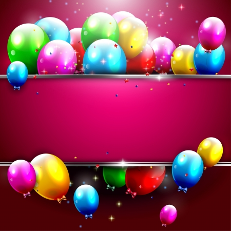 birthday invitation: Luxury birthday background with colorful balloons and copyspace