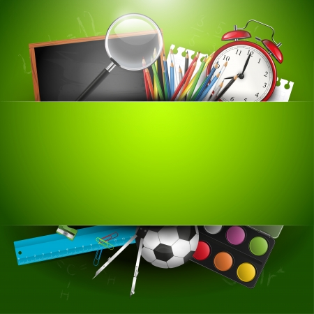 緑色の背景でテキストのための場所と学校用品
