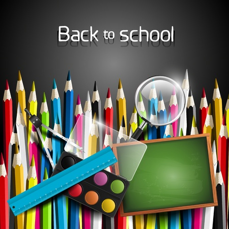 Colorful crayons and school supplies - Back to school concept Vector