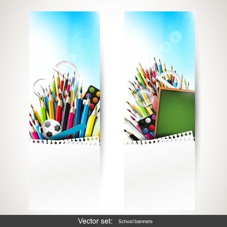 utiles escolares: Conjunto de dos banderas verticales con �tiles escolares Vectores