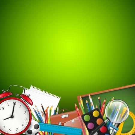 przybory szkolne: Przybory szkolne na zielonym tle - wektor tła z copyspace Ilustracja