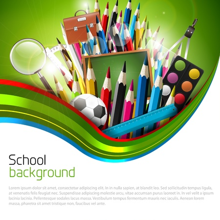 Colorful school background with copyspace Stock Vector - 20900923