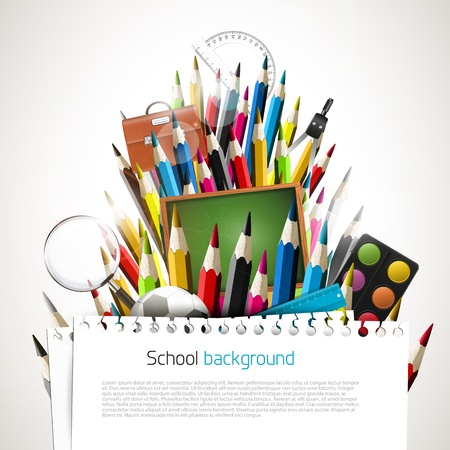 Colorful crayons with school supplies Vector