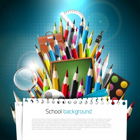 Colorful crayons with school supplies on blue background Vector
