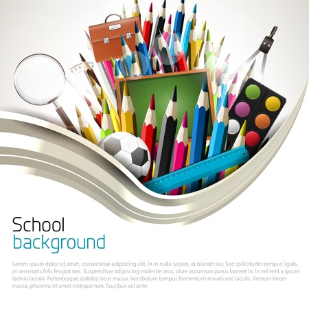 Colorful crayons with school supplies - school background Vector