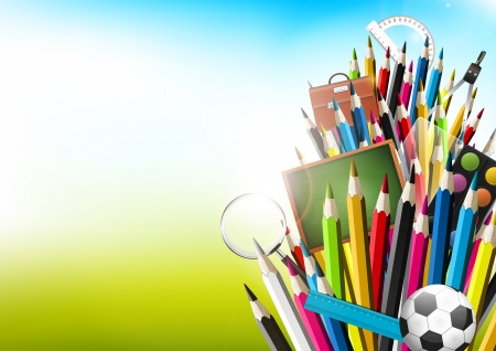 vector school: Colorful crayons with school supplies - vector background with copyspace
