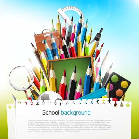 Colorful crayons with school supplies - vector background with copyspace Stock Vector - 20900928