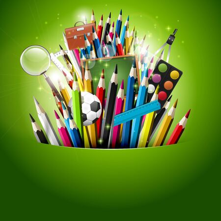 Colorful crayons and school supplies in green pocket Vector