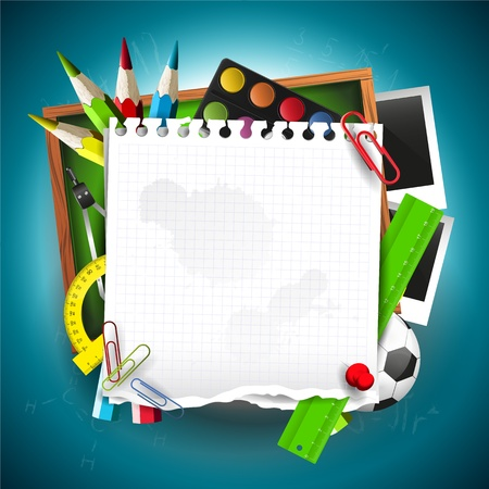 colour background: Modern school background with school supplies and empty paper Illustration
