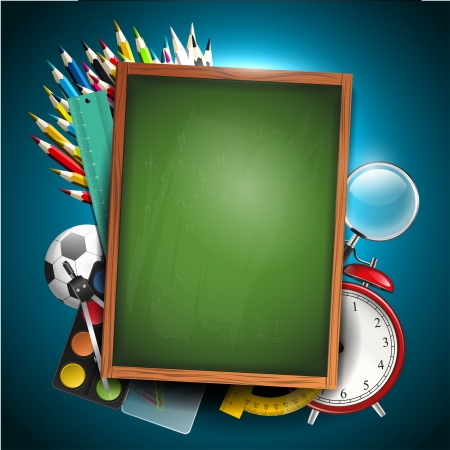 copyspace: Colorful crayons with school supplies - school background with copyspace