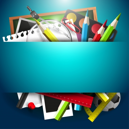 School supplies on blue background with place for text Vector