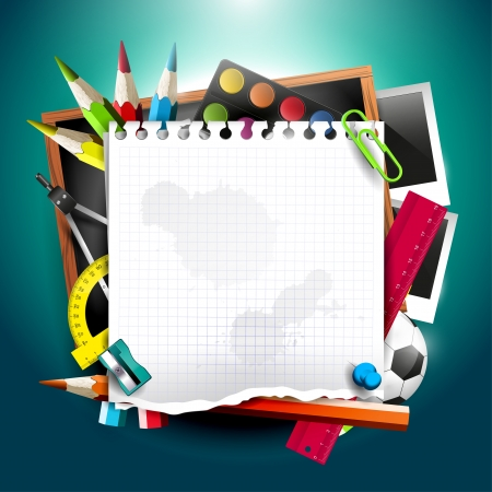 blackboard background: Modern school background with school supplies and empty paper