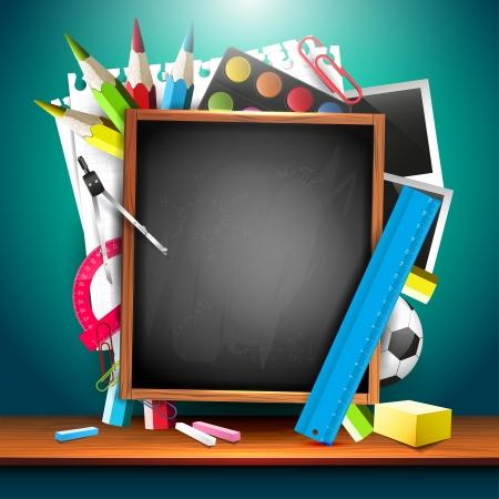 school supplies: arri�re-plan de l'�cole avec les fournitures scolaires et atelier