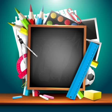 school frame: School background with school supplies and copyspace