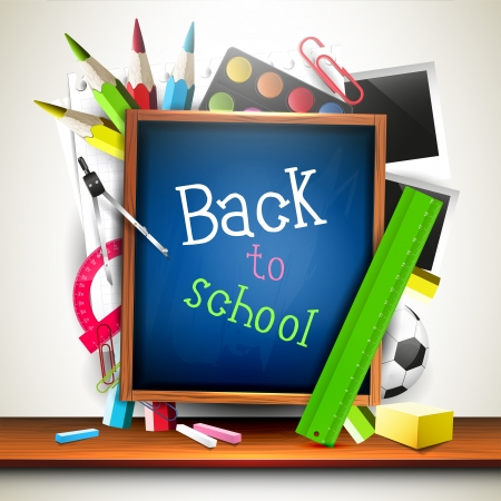 back to school background: Back to school - creative vector background with school supplies and chalkboard
