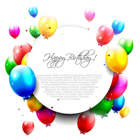 happy people white background: Birthday balloons on isolated background and place for text  Illustration