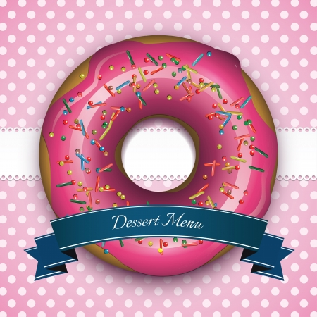 donut: Sweet pink frame with donut and blue ribbon Illustration