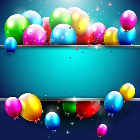 verjaardag ballonen: Luxe verjaardag achtergrond met kleurrijke ballonnen en copyspace Stock Illustratie