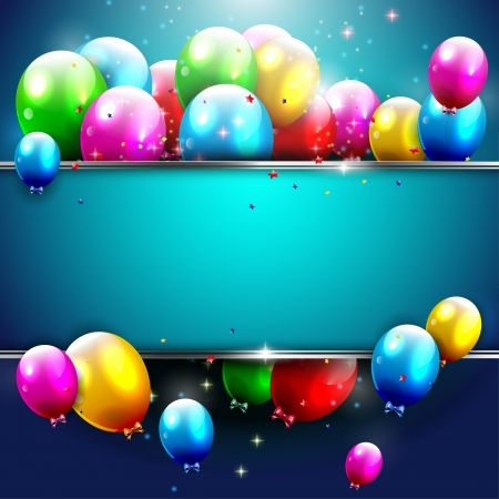 happy young people: Luxury birthday background with colorful balloons and copyspace