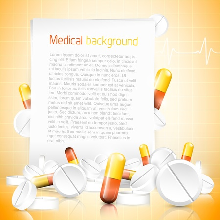 Medical background with spilled pills, tablets and with copyspace  Stock Vector - 20902802