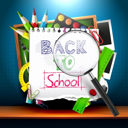 Back to school - creative vector background with school supplies Vector