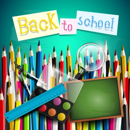 Colorful school background with chool supplies and crayons Vector