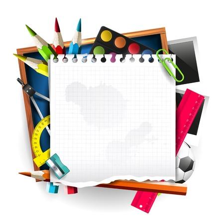 Les fournitures scolaires avec du papier vide sur fond isolé