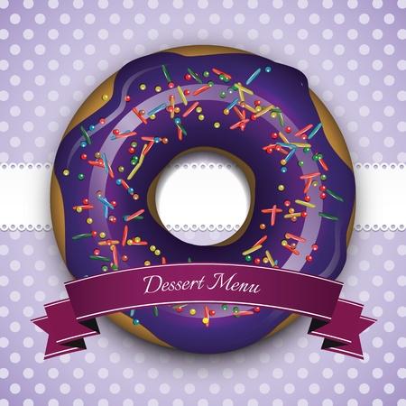 dulces: Marco púrpura dulce con el buñuelo y la cinta azul