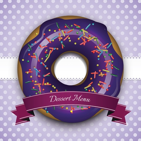 hapiness: Sweet purple frame with donut and blue ribbon Illustration