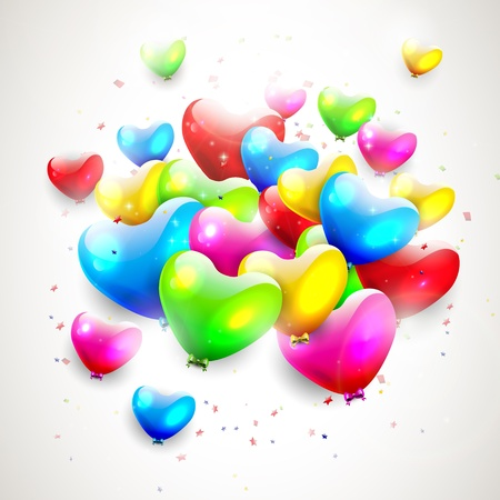 Colorful heart shaped birthday balloons